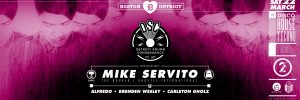 Black, purple, and white flyer for Mike Servito's performance at Social Studies Boston.